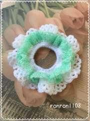ハンドメイド/手編み♪毛糸のダブルフリル編みシュシュ 4