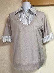 ★ストライプフェイクシャツ付×グレー 重ね着風カットソー  L★