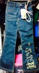 新品★130cm★ドクロスカルデザインストレッチデニムジーンズ