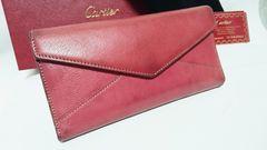 正規良品 レア Cartier カルティエ レ マスト レザー長財布ピンク 兼用 付属品有