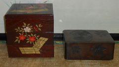 美しい絵柄分厚い木製重箱&鎌倉彫木箱