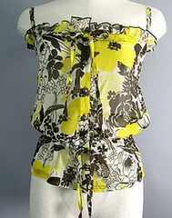 バニティバニラシフォン花柄キャミ黄