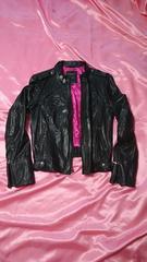 インポートレア裏地ピンク可愛い羊革レザーライダースジャケット
