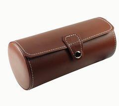 円筒形携帯用腕時計収納ケース3本用 茶色