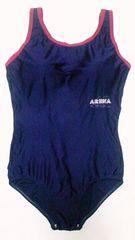 arena・アリーナロゴプリント&赤パイピングワンピース水着スイミングスクールフィットネス