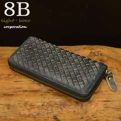 ◆牛本革 ムラ染め 編込み ラウンドファスナー 財布◆黒c4