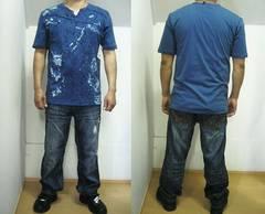 V97)PREMIUMヘンリーネックデザインTシャツb