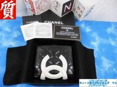 質屋☆本物 シャネル 財布 カンボン ブラック+ホワイトココ