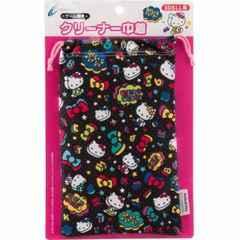 ☆ゲーム機用クリーナー巾着 ハローキティ ブラック (3DS LL用)