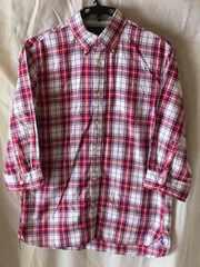 トミーヒルフィガー☆赤白ネイビーチェック五分袖シャツ:大きめM