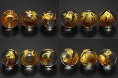 金彫り☆手彫り風水四神獣各1個☆水晶14mmビーズセット☆