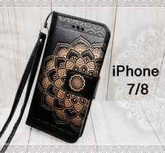 iPhone7/8 手帳型 オシャレ 花柄ケース +液晶フィルム 黒