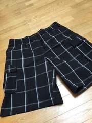 LA直輸入SHAKA チェックカーゴハーフパンツ 黒ブラックサイズ2XL