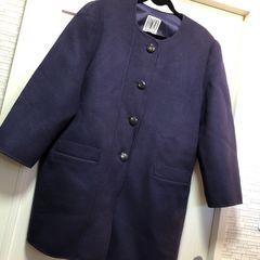 PACO XL以上 ウール94 ロングコート パープル ゆったりサイズ 紫