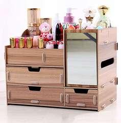 可愛い 超大 化粧品収納ボックス 桜桃木色