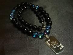 オーダーメイド!!梵字彫ドッグタグ&ブルーオーラ&オニキス数珠ネックレス