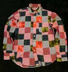 A BATHING APE、長袖パッチワークシャツ、