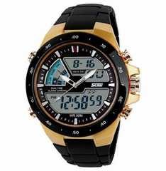 ■■■新品♪50m防水SKMEIデザイン腕時計ゴールド★デジアナ