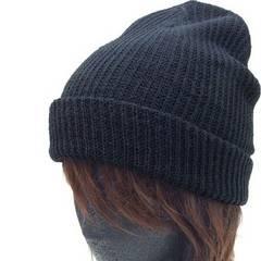 帽子♪アクリル ダブル ワッチ ニット帽 キャップ*ブラック*