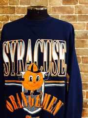 表記L/USA製!1992年シラキュース大学カレッジキャラクタープリントユーズドスウェット古着