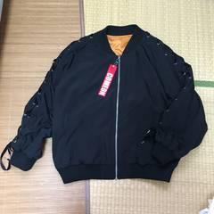 袖ベロアリボンレースアップMA-1風ブルゾン。Lサイズ