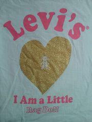 Levi's リーバイス I Am a Little Rag Doll ゴールド ハート Tシャツ M 水色