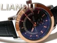 新品 LIANDU【スモールセコンド】美しい大型メンズ腕時計