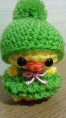 ポンポン帽子ひよちゃんあみぐるみ(黄緑)