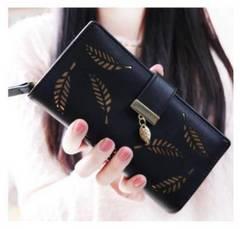 ◆ブラック 長財布  二つ折り財布◆小銭入れ レディース 黒