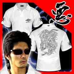 送料無料ヤンキーチンピラオラオラ系和柄半袖ポロシャツ/ホストお兄系服15010白-XL