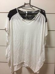 インポート レース切り替えTシャツ ホワイト 白 Mサイズ