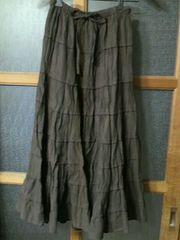 【USED/美品】秋冬物◆ロングスカート☆濃ブラウン系