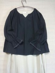 ●サマンサモスモス●刺繍入ボリューム袖プルオーバー 新品ブラック
