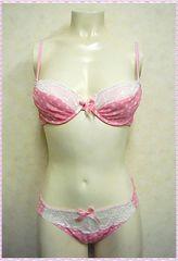 水玉柄♪ブラ&ショーツセット C70 (ピンク)