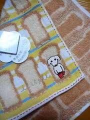 アキコオブチタオルハンカチ子犬刺繍YB