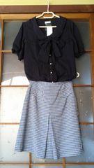 【即決】チェック柄台形膝丈スカート【1円】