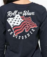 RodeoCrowns■アメリカフラッグ Vネック ロング Tシャツ M NVY紺