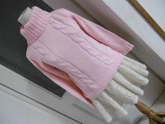 【新品】襟ボタンハイネックセーターピンク☆M★☆