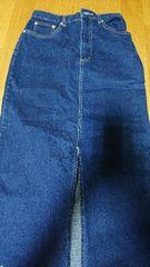 バラ柄のジーンズロングスカート