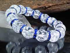 クラック水晶12ミリ§ブルーロンデル数珠