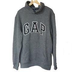 新品M★GAPマーブルグレーロゴ裏起毛パーカーギャップ