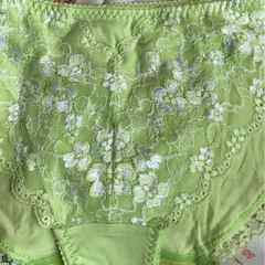 送料無料 花刺繍 可愛い系 3L ライトグリーン