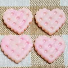 102 ☆ O ☆ 4 コ ☆ ハート クッキー ☆ 約 2.3 cm ☆ デコ パーツ