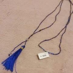 インドネシア製*青色フリンジモチーフネックレス*新品未使用