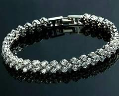 1円〜◆ハ〜ト型 CZ crystal diamondテニスブレスレット