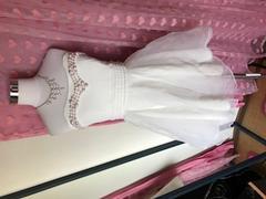 胸元パール/ふんわりレース/バッグおリボンのミニドレス