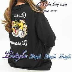 NEW最新バクプリ/tiger/タトゥ/胸ロゴ/BIGTシャツ7592