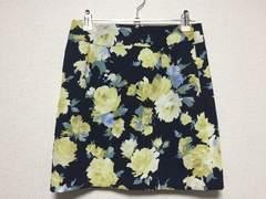 セシルマクビーCECIL花柄フラワー台形ミニスカート紺