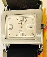 良品エルメスバレニアレディース時計クオーツブラウン革ベルト