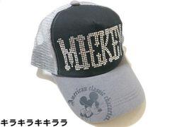 シルバースタッズミッキーマウス*デザイン★メッシュキャップグレーxブラック